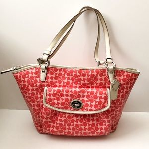 Coach signature print coated shoulder bag purse